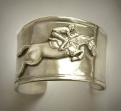 Jumper Horse cuff bracelet by HorseLadyGifts on Etsy, $28.99