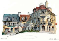 Gourdon, France Gourdon, France by Chris Lee Watercolor Architecture, Architecture Drawings, Illustration Manga, Illustrations, Watercolor Sketch, Watercolor Paintings, Watercolours, Sketches Arquitectura, Building Sketch
