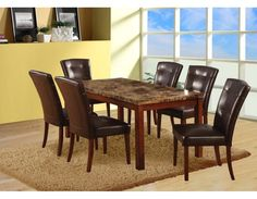 Faux Marble Dining Set, Table+6 ChairsDining room sets