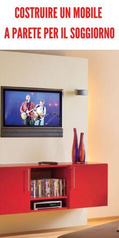 Un mobile a parete ideale per un soggiorno multimediale # #mobileaparete #soggiorno #costruire #costruzione #mdf #pannelli #cornice #tv Cornice Tv, Diy Cabinets, Buffets, Dressers, Flat Screen, Home, Dresser, Bricolage, Blood Plasma