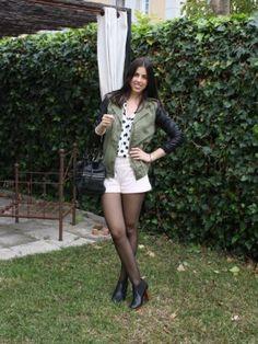 Modaxatodas Outfit   Primavera 2012. Combinar Chaqueta-Cazadora Verde oliva Zara, Shorts Rosa suave/Rosa palo Zara, Cómo vestirse y combinar según Modaxatodas el 25-4-2012