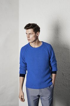 Reiss #SS14 Menswear Lookbook: Carlton Textured Crew Neck Jumper in Bright Cobalt