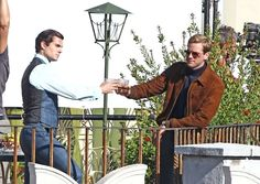 Henry Cavill and Armie Hammer on the set of Guy Ritchie's The Man From U.N.C.L.E. in Italy, 2nd October, 2013. [via HenryCavillOrg]