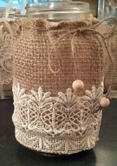 Mason jar burlap and lace twine rope and beads. Mason Jars, Canning Jars, Bottles And Jars, Glass Jars, Mason Jar Projects, Mason Jar Crafts, Bottle Crafts, Burlap Lace, Burlap Flowers
