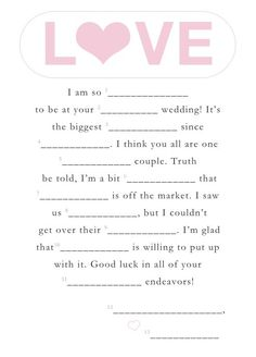 14 Free, Fun, and Printable Wedding Mad Libs | Free fun, Weddings