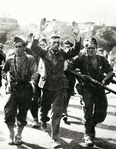 Image: The French Resistance parade a German soldier through Paris, 1945 Nagasaki, Hiroshima, Fukushima, World History, World War Ii, French Resistance, Paris Vintage, Free In French, Total War