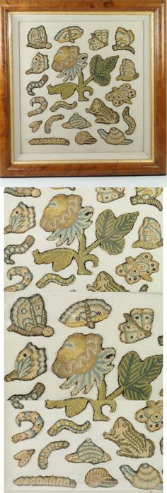 """Antique Embroidered Flowers Insects and Animal Motifs (framed), 17th (?) century 
