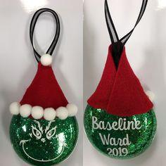 Christmas ornament gift for Ward Grinch Christmas Party Grinch Christmas Party, Christmas Ornaments, Glitter, Holiday Decor, Crafts, Embellishments, Xmas, Deco, Manualidades