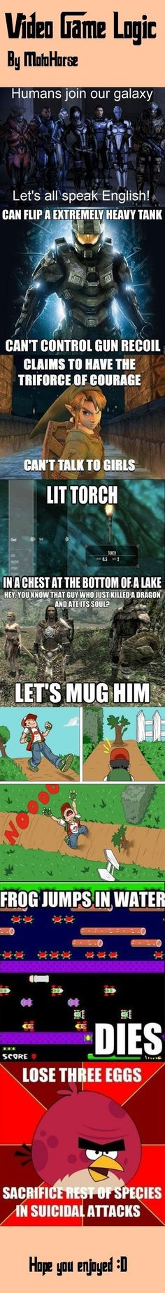 Video game logic LOL it's funny cause' it's true. The little things that make video games so so funny LOL again Video Game Logic, Video Games Funny, Funny Games, Video Game Quotes, King's Quest, Mundo Dos Games, Video Humour, Nintendo, Pokemon