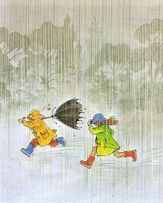 books my kid loves: rain 비오는날 дождь, зонты 및 иллюстрации Vs Pink Wallpaper, Ios 7 Wallpaper, Glitter Wallpaper, Desktop Wallpapers, Running In The Rain, Walking In The Rain, Clouds And Rain, Fantasy Magic, Rain Art
