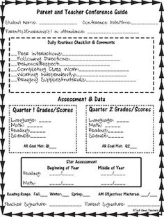 ParentTeacher Conference Sheet  Parent Teacher Conference Forms