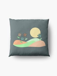 """Floral pastel landscape"" Floor Pillow by Mandsred1 | Redbubble"