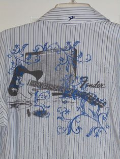 44f95a055cf Details about Mens  89 FENDER ROCK N ROLL BLUE STRIPED GUITAR TWIN AMP  GRAPHIC SHIRT~S M