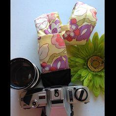 """Kim"" padded camera strap using Amy Buttler's Gypsey-Cutting Garden"