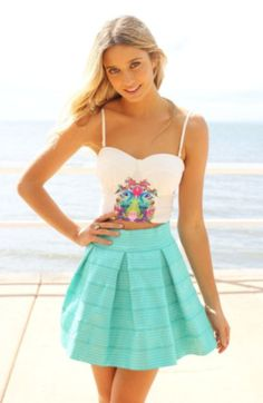 Mint Skirt & Cute Crop Top