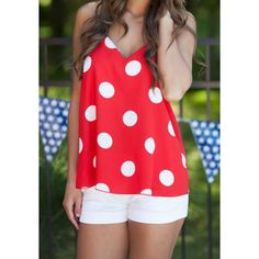 Wholesale Stylish Spaghetti Strap Polka Dot Women's Tank Top Only $2.74 Drop Shipping | TrendsGal.com