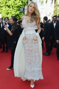 In a Chanel dress with Sophia Webster heels at the premiere of Mr. Turner in Cannes in 2014. See all of Blake Lively's best looks.