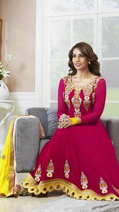 $77.78 Bipasa Basu Bollywood Pink Anarkali Salwar Kameez 24620