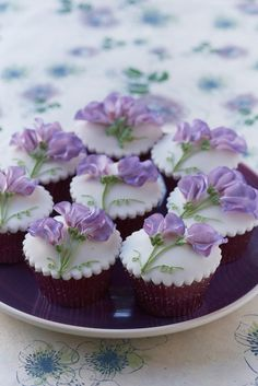 Purple Sweet Pea Flowers Cupcakes - great for a dessert buffet at Tea