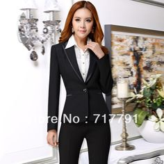New Fashion autumn & winter women Clothing Lady Office Suits formal work wear slim Dress Suits Business Black uniforms female(China (Mainland))