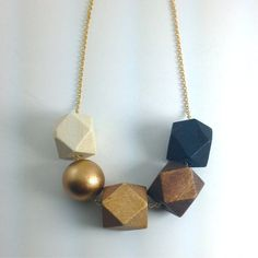 Faceted Geometric Necklace 5 Wooden Beads with Gold by totinette. etsy.com