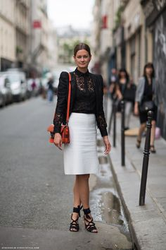 black lace + pencil skirt {love this look}