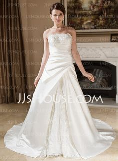 A-Line/Princess Strapless Court Train Satin Lace Wedding Dress With Ruffle Beadwork (002000603)