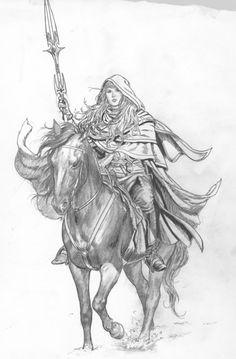 Girl-On Horseback. Horse Anatomy, Female Images, Old School, Fantasy Art, Horses, Black And White, Drawings, Larry, Illustration