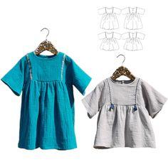 Patron de Couture Enfant Fille. 3-12 ans Duo de patrons de couture - robe et blouse. Un style bohème à la coupe loose (bien ample) et manches façon kimono
