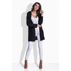 Cardigan dama tricotat cu buzunare laterale neagra Cardigan, White Jeans, Pants, Fashion, Trouser Pants, Moda, Fashion Styles, Women's Pants, Women Pants