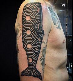 http://ifltattoos.com/geometric-sperm-whale/ Geometric Sperm Whale #Animal…