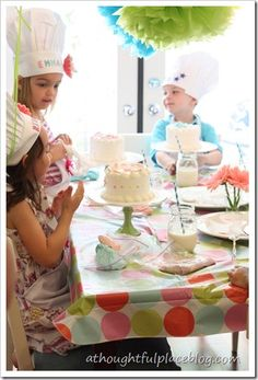 adorable birthday party theme - Bake Shoppe party!  small individual cakes for each little girl that they got to decorate!  her decorations are adorable too.  Lexi would love this in a few years! :)