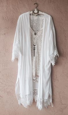 Image of Coachella festival hippie Vintage gypsy bohemian maxi kimono with crochet