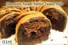 Vegan chocolate peanut butter tunnel cake