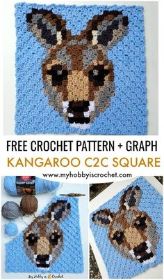 The Kangaroo C2C Square is a free crochet pattern with row by row color counts and graph! Use it on its own to make pillow covers, wall hangers,etc.. or add it to the other animal blocks of the Wildlife Graphghan CAL on My Hobby is Crochet blog to make a lovely animal themed blanket! C2c Crochet, All Free Crochet, Unique Crochet, Tapestry Crochet, Beautiful Crochet, Crochet Afghans, Crochet Blankets, Free Knitting, Crochet Stitches