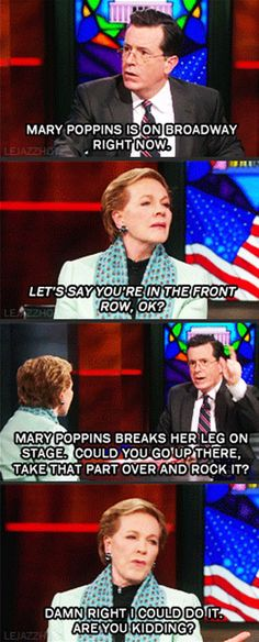 Julie Andrews... The one and only Mary Poppins. That's adorable <3
