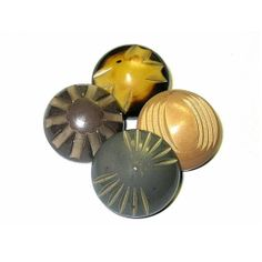 Antique Chunky Carved Celluloid Buttons x4 NBS Large by xurple, $20.00