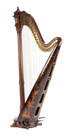 A French Japonesque Mother-of-Pearl Inlaid Harp He Hammered Dulcimer, Celtic Music, Make Pictures, Old World Style, French Furniture, Recording Studio, Instrumental, Musical Instruments, Violin