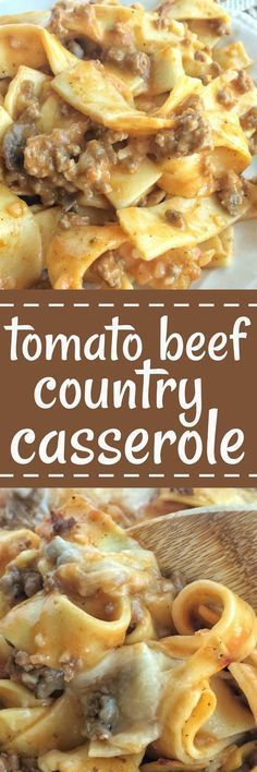 This tomato beef country casserole is packed with all your favorite comfort foods: tomato, mushrooms, creamy sauce, beef and tender egg noodles. Comes together quickly with inexpensive ingredients but is so delicious and comforting! Beef Dishes, Food Dishes, Main Dishes, Cooking Dishes, Casserole Dishes, Casserole Recipes, Beef Casserole, Breakfast Casserole, Egg Noodle Casserole