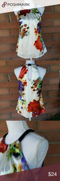 T Tahari  Watercolor Floral Design Tank Top Sz. M Beautiful T Tahari Watercolor floral design halter style tank top. Sz M. Tiny hole in fabric *See Pics* where price tag was. T Tahari Tops Tank Tops