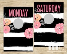Weekday / Weekend / Days of the Week Clothing Rack Hanging Dividers, Days of the Week Clothing Separators for Clothes Racks, Hanger Tags Monday / Tuesday / Wednesday / Thursday / Friday / Saturday / Sunday for Kids or Adults, Modern Floral black and white stripe kate spade design by MulliganDesign on Etsy