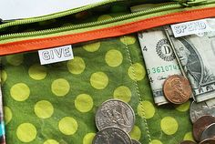 """Kids """"Give, Spend, Save"""" pouches - love this!"""