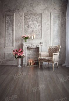 Kate Living Room Wall Floor indoor castle Building  for wedding Backdrops - custom size(please contact seller)