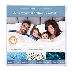 Zona Premium Waterproof Mattress Protector – Queen, 100% Cotton Terry Fitted Cover – 10y Warranty