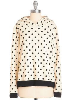 You Dot It! Hoodie - Mid-length, Knit, Cream, Black, Polka Dots, Casual, Hoodie, Long Sleeve