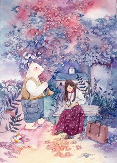 林田  的插画 花开一树 (Artist: Lin Tian, Blossoms - Tree)