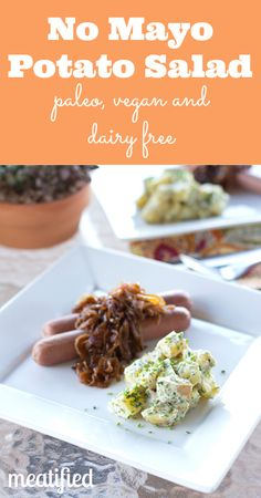 No Mayo Potato Salad {egg & dairy free} - http://meatified.com #paleo #glutenfree #dairyfree