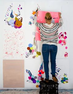 In the studio with artist Kirra Jamison. #AmandaBrown #BrownBearStudio