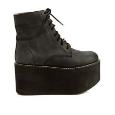 Pre-owned Women's Jeffrey Campbell Black Boots ($69) ❤ liked on Polyvore featuring shoes, boots, black, black shoes, jeffrey campbell boots, jeffrey campbell shoes, black boots and kohl boots