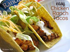 Six Sisters' Stuff: Easy Chicken Ranch Tacos Recipe. Tasty and easy! Mexican Food Recipes, New Recipes, Dinner Recipes, Cooking Recipes, Favorite Recipes, Healthy Recipes, Budget Recipes, Mexican Dishes, Sweets